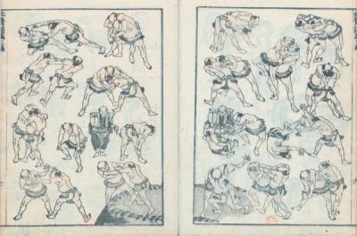 HOKUSAI Lutteurs sumo combat avec l'ange.jpg