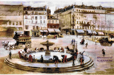 place pigalle,fontaine, 1871,soldats