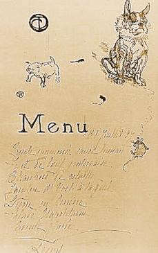 menu la souris,toulouse Lautrec