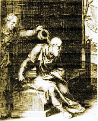 xantippe jetant de l'eau au visage de Socrate.jpg