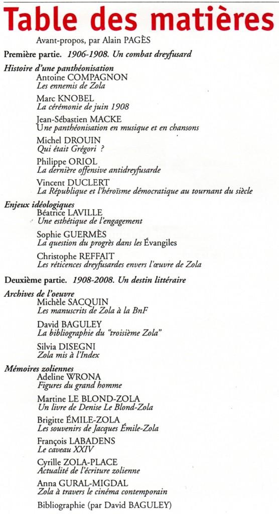 Zola autour du p re tanguy - Exemple table des matieres ...